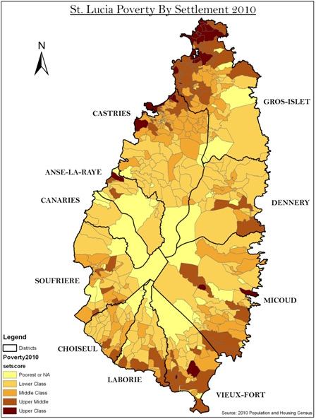 St. Lucia poverty by settlement 2010